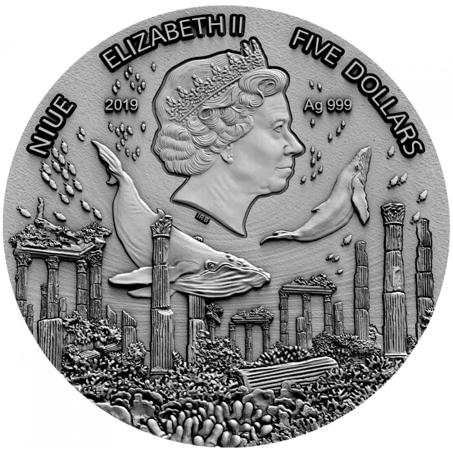 Niue Island ATLANTIS series LEGENDARY LANDS Silver Coin $5 Antique finish 2019 Ultra High Relief Gold plated 2 oz
