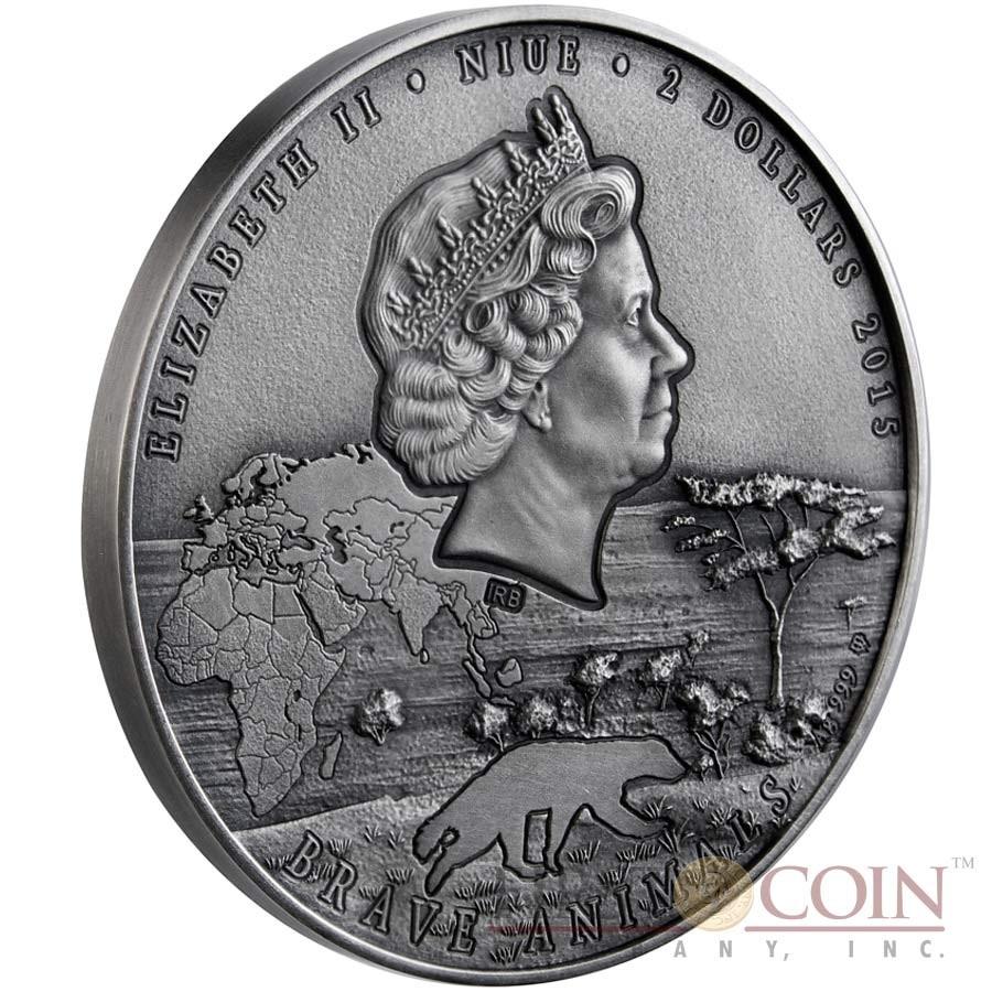 Niue Island HONEY BADGER MELLIVORA CAPENSIS series BRAVE ANIMALS $2 Silver coin 2015 High relief Antique finish 2 oz