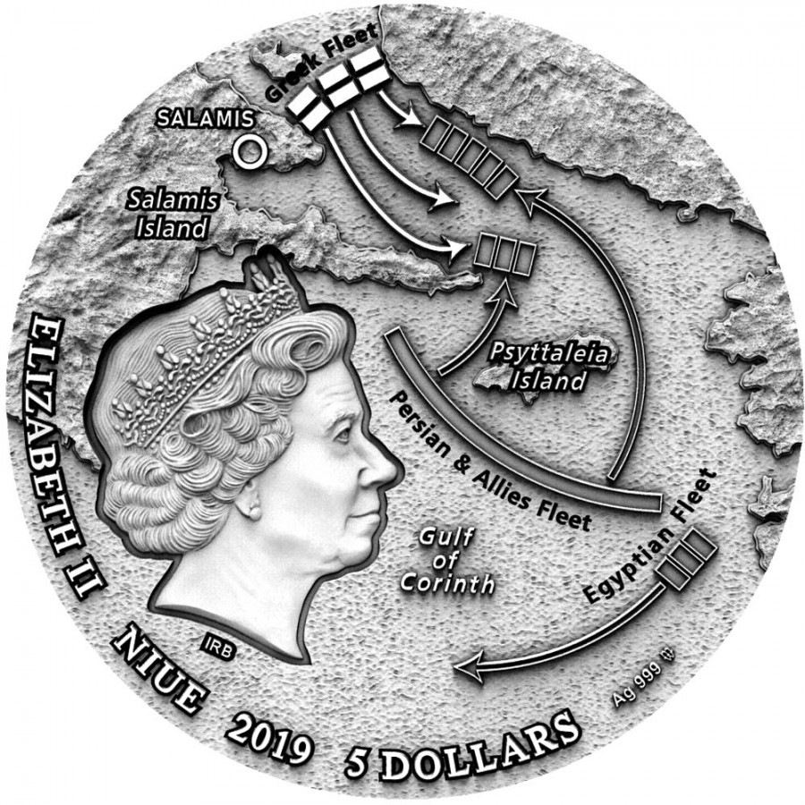 Niue Island THE BATTLE OF SALAMIS series SEA BATTLES Silver Coin $5 Antique finish 2019 Ultra High Relief 2 oz