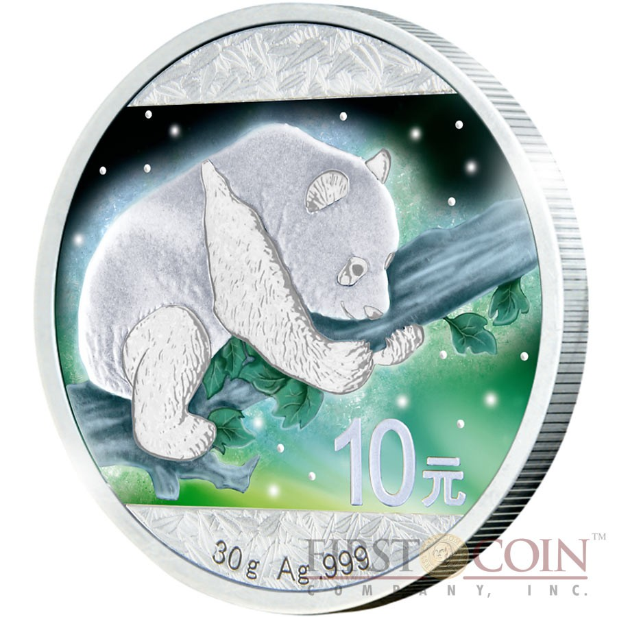 China Frozen Panda Series Aurora Rhodium 2016 Silver Coin