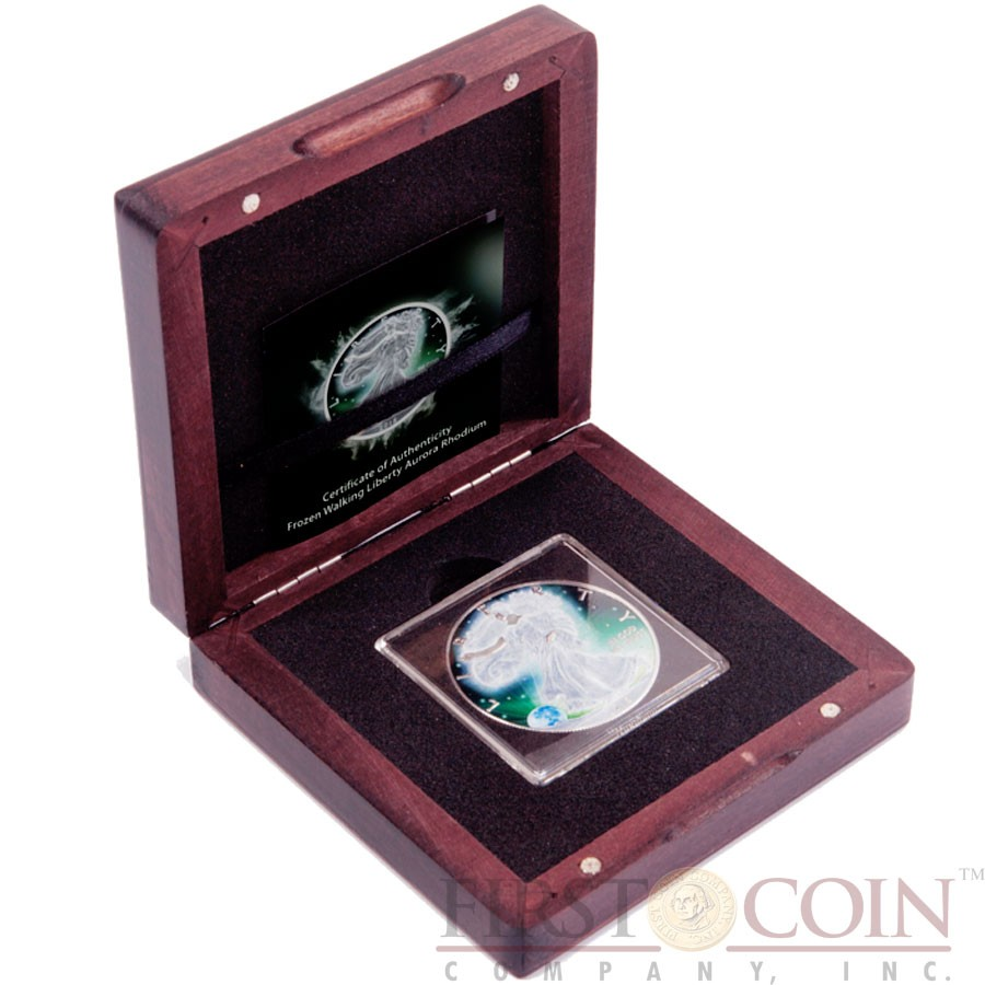 USA FROZEN AMERICAN SILVER EAGLE WALKING LIBERTY series AURORA RHODIUM 2015 Silver Coin $1 Rhodium Plating UV Special printing 1 oz