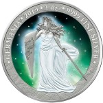 Germania FROZEN AURORA RHODIUM Glow in the Dark 5 Mark 2019 Silver Coin Rhodium plated 1 oz
