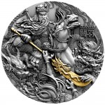 Niue Island GUAN YU series CHINESE HEROES Silver Coin $5 Antique finish 2019 Ultra High Relief Gold plated 2 oz