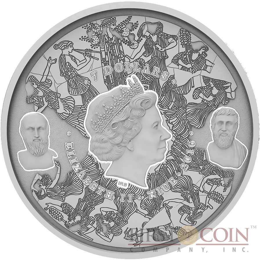 Niue Island EPIDAURUS GREEK THEATRE series HISTORY OF THEATRE $7 Silver Coin 2016 Antique finish Ultra High Relief 3D Concave shape 3 oz