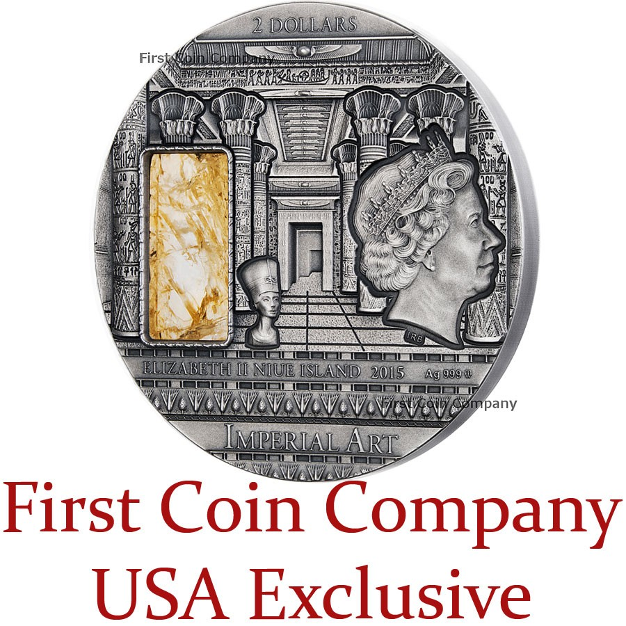 Niue Island EGYPT series IMPERIAL ART Silver coin $2 High Relief Antique finish 2015 Citrine inlay 2 oz