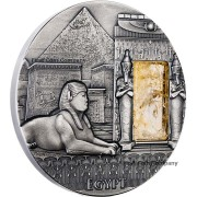 Niue Island EGYPT series IMPERIAL ART Silver coin $2 High Relief 2015 Antique finish Citrine stone inlay 2 oz