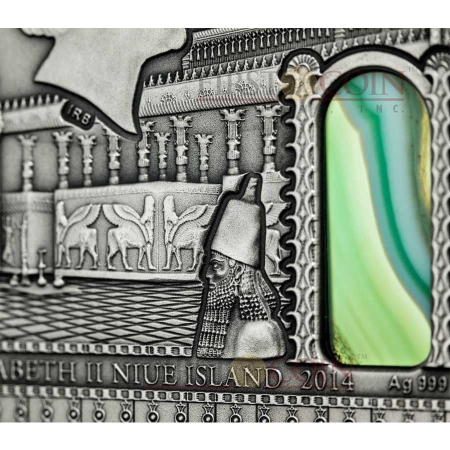 Niue Island MESOPOTAMIA Series IMPERIAL ART $2 Silver coin Antique finish High Relief 2014 Agate inlay 2 oz