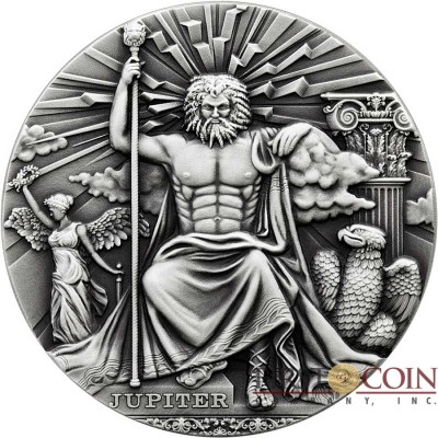 Niue Island JUPITER - KING OF THE GODS series ROMAN GODS Silver Coin $2 Antique finish 2016 Detailed Ultra High Relief 2 oz