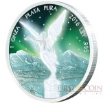 Mexico FROZEN MEXICAN LIBERTAD series AURORA RHODIUM 1 Onza Silver Coin 2016 Rhodium Plating UV Special printing 1 oz