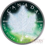 CANADA FROZEN CANADIAN SILVER MAPLE LEAF series AURORA RHODIUM 2016 Silver Coin $5 Rhodium Plating UV Special printing 1 oz