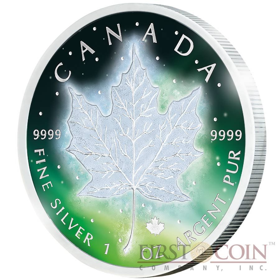 CANADA FROZEN CANADIAN SILVER MAPLE LEAF series AURORA RHODIUM 2016 Silver Coin $5 Rhodium Plating UV Special printing 1 oz