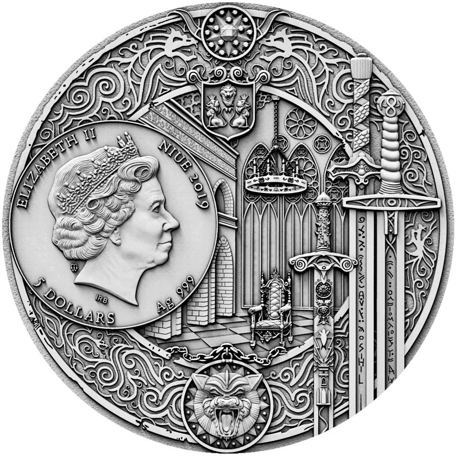 Niue Island THE WITCHER - THE LAST WISH Silver Coin $5 Antique finish 2019 Ultra High Relief Gold plated 2 oz