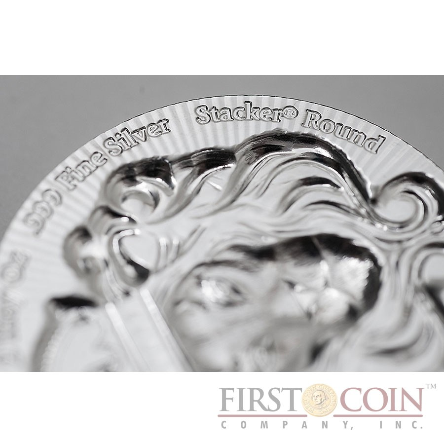 KING LION 99.9% Fine Silver Stacker Thick coin round Ultra High relief Proof 5 oz