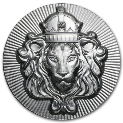 KING LION 99.9% Fine Silver Stacker Thick coin round Ultra High relief Proof 2 oz
