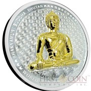 Bhutan SHAKYAMUNI BUDDHA OF BHUTAN Series WORLD BUDDHA HERITAGE Silver Coin 1000 Ngultrum High Relief Gold plated 2015 Proof 5 oz