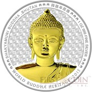Bhutan SHAKYAMUNI BUDDHA OF BHUTAN Series WORLD BUDDHA HERITAGE Silver Coin 250 Ngultrum High Relief Gold plated 2015 Proof 1 oz