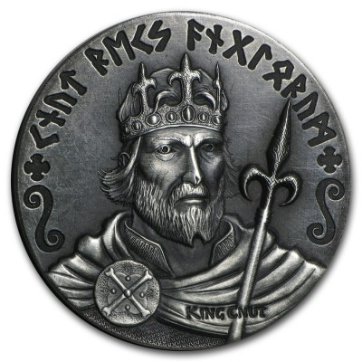 Niue Island KING CNUT series VIKING $2 Silver Coin Antique finish 2015 High relief 2 oz