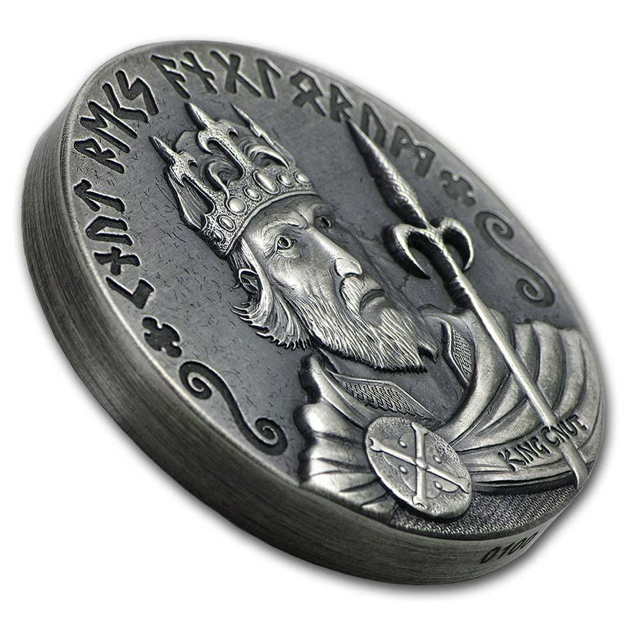 Niue Island KING CNUT series VIKING $2 Silver Coin Antique finish 2015 High relief 2 oz