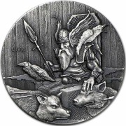 Niue Island ODIN series VIKING $2 Silver Coin Antique finish 2015 High relief 2 oz