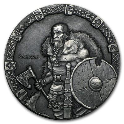 Niue Island RAGNAR series VIKING $2 Silver Coin Antique finish 2015 High relief 2 oz