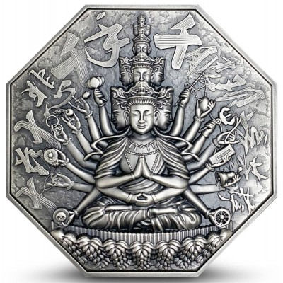 Niue Island GODDESS OF MERCY WITH ONE THOUSAND HANDS series THE EIGHT PROTECTORS $10 Silver Coin 2020 Antique finish Ultra High Relief 5 oz