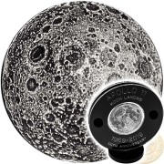 APPOLO-11 LANDING FIRST WALK ON THE MOON series TRUE MOON 2019 Silver Coin Round Antique finish High relief 3D effect 1 oz