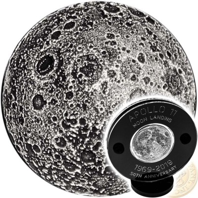NEIL ARMSTRONG APPOLO-11 LANDING FIRST WALK ON THE MOON series TRUE MOON 2019 Silver Coin Round Antique finish High relief 3D effect 1 oz