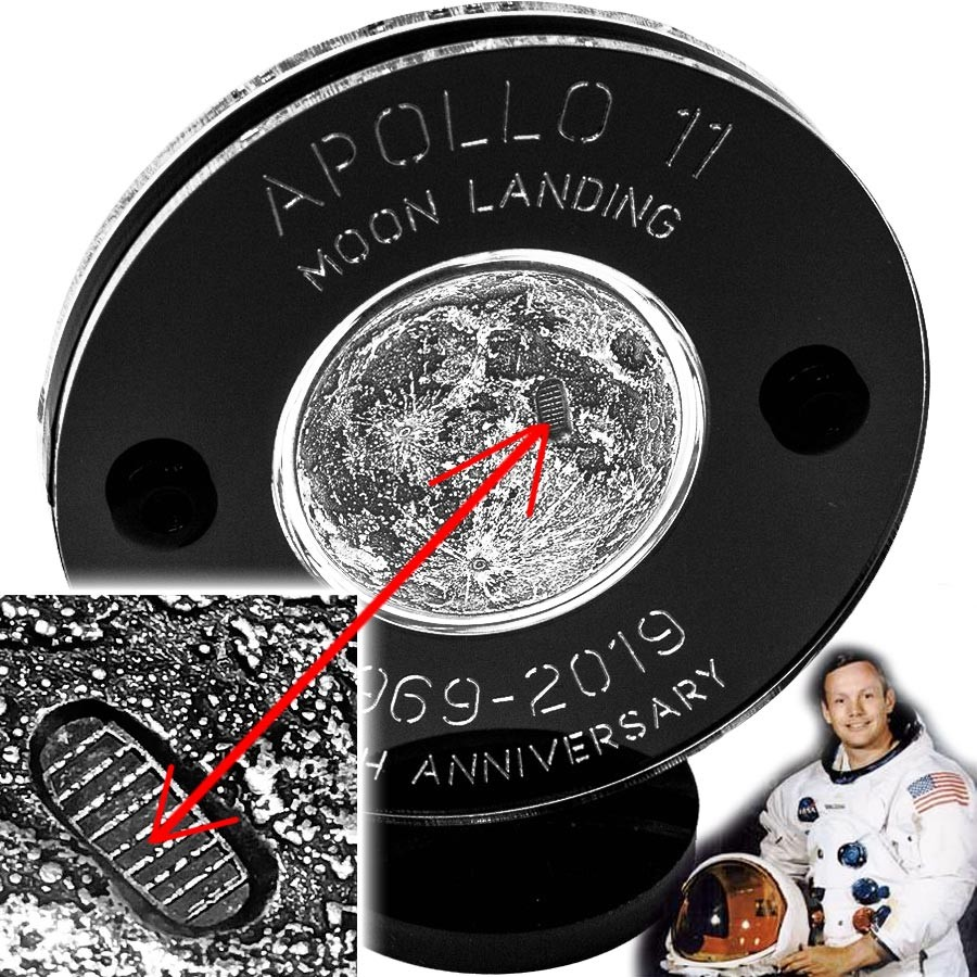 NEIL ARMSTRONG APOLLO-11 LANDING FIRST WALK ON THE MOON series TRUE MOON 2019 Silver Coin Round Antique finish High relief 3D effect 1 oz