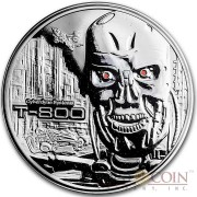 TERMINATOR T-800 CYBERDYNE SYSTEM Silver 99.9% coin round Proof 2 oz