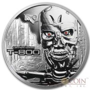 TERMINATOR T-800 CYBERDYNE SYSTEM Silver 99.9% coin round Proof 1 oz