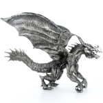 FLYING BRUTUS THE DRAGON 3D Solid Silver Statue Antique finish 8.7 oz