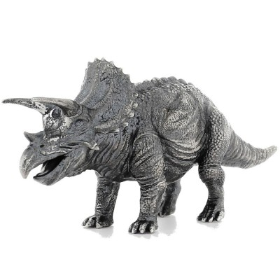 TRICERATOPS series THE LOST WORLD 3D Solid Silver Statue Antique finish 8.7 oz