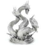 DRAGON HYDRA MYTHICAL SEA SERPENT MONSTER 3D Solid Silver Statue Antique finish 8.7 oz