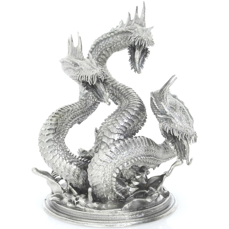 Dragon Hydra Mythical Sea Serpent Monster 3d Solid Silver