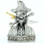 SILVERBEARD THE PIRATE 3D Solid Silver Statue Antique finish Removable Gold and Rhodium plated sword 12.9 oz