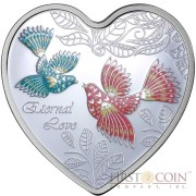 Cook Islands ETERNAL LOVE $1 Silver Coin 2013 Heart shape PROOF