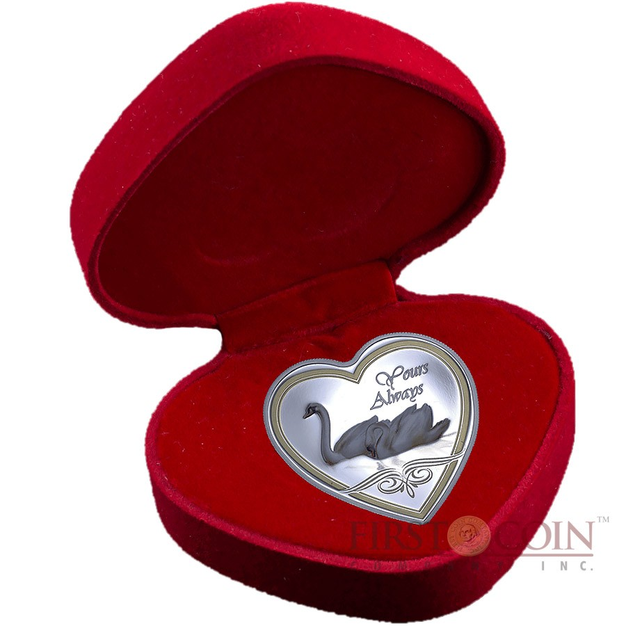 Cook Islands YOURS ALWAYS SWAN $1 Silver Coin 2013 Heart shape PROOF