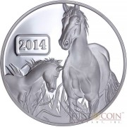 Tokelau Year of the Horse Series Lunar Family $5 Silver Coin 2014 Proof 1 oz