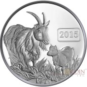 Tokelau Year of the Goat $5 Lunar Family Series Silver Coin Proof 1 oz 2015