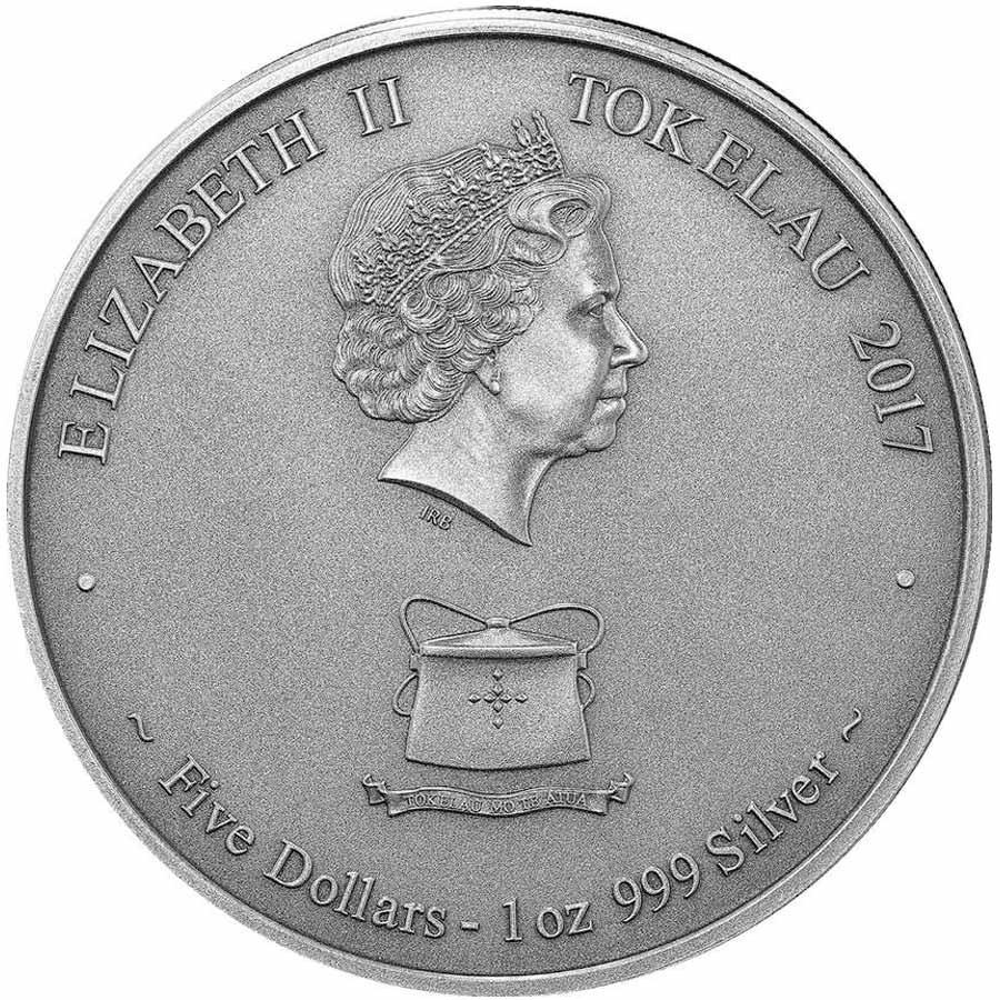 Tokelau POSEIDON series CREATURES OF MYTH & LEGEND $5 Silver Coin High relief 2017 Antique finish 1 oz