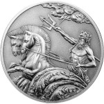 Tokelau POSEIDON series CREATURES OF MYTH & LEGEND $5 Silver Coin High relief 2017 Antique finish 1 oz