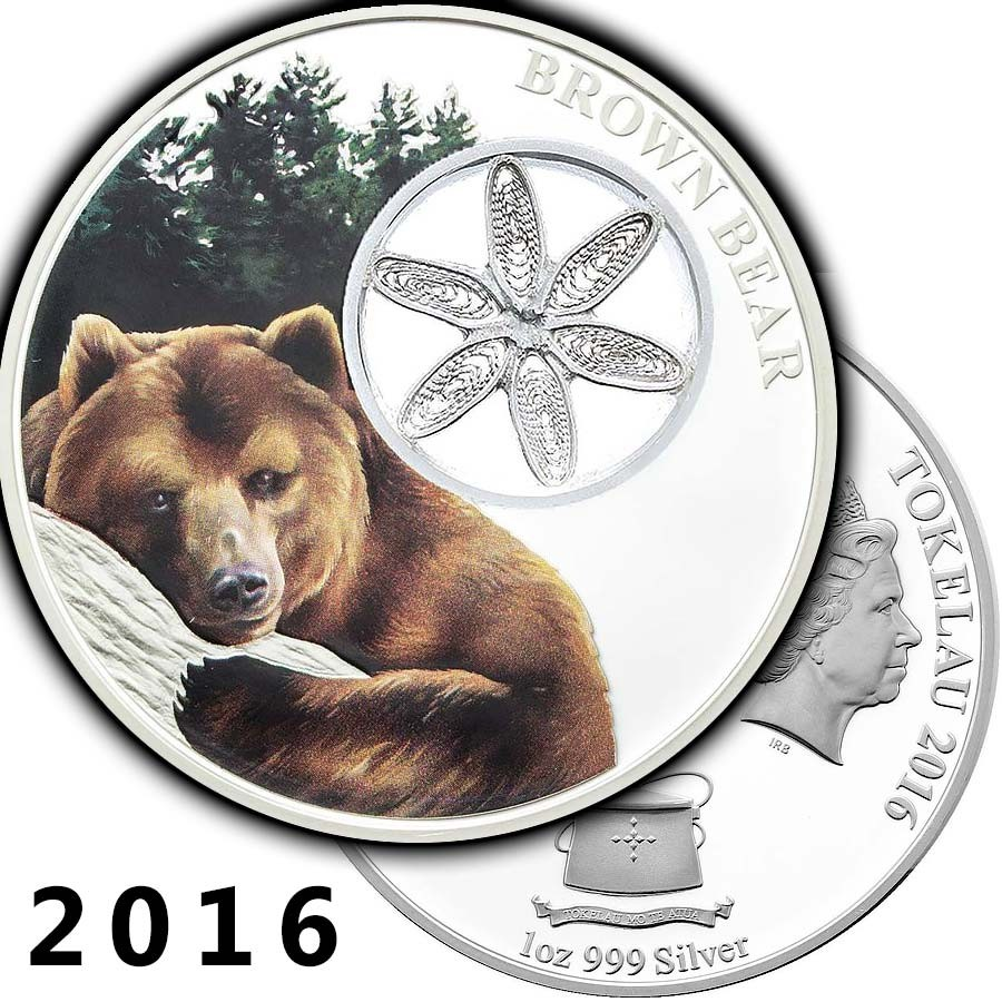 2017 1oz Fine Silver Coin Tokelau Giant Panda Filigree Snowflake Bears Series