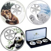 Tokelau 3 SNOWFLAKE BEAR TRILOGY COIN COLLECTION 3 Silver Coin Set $3 Silver filigree elements 2015, 2016, 2017 Proof 3 oz