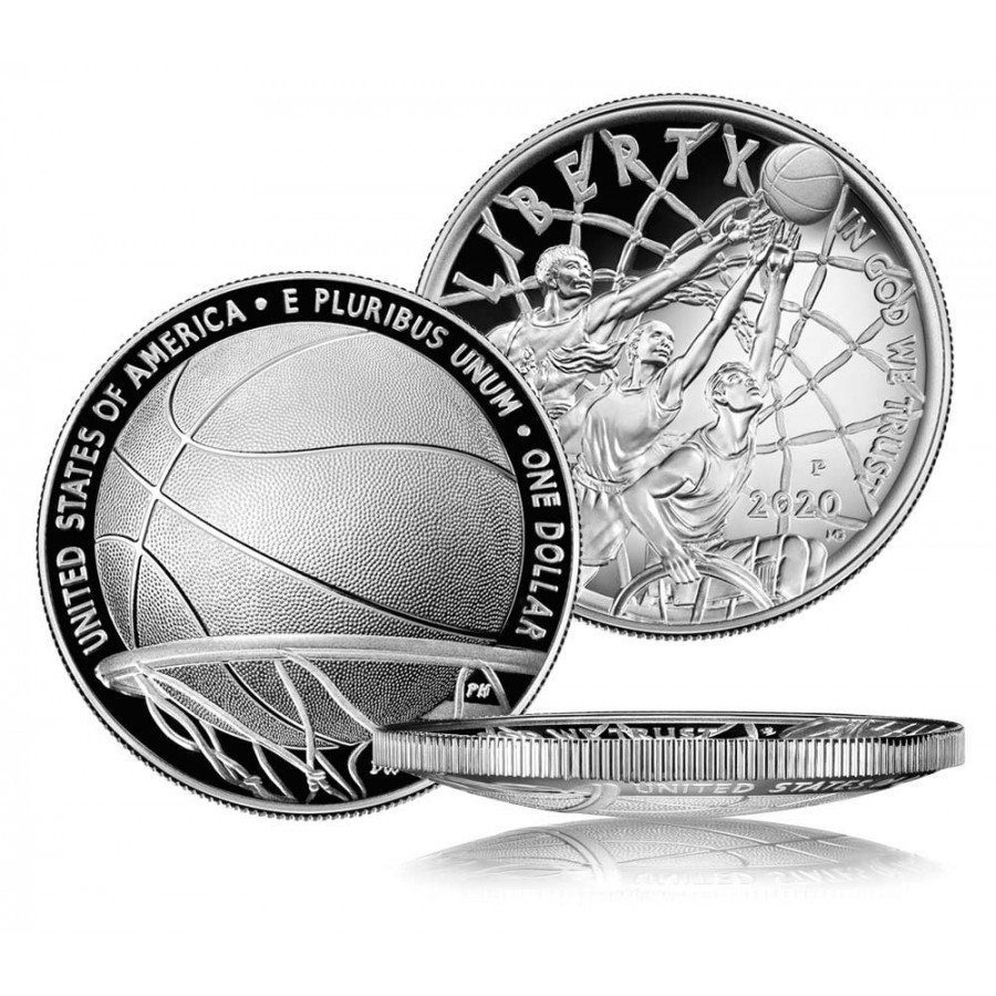 USA BASKETBALL HALL OF FAME $1 One Dollar Silver Coin Concave Convex Shaped 2020 Proof