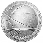 USA BASKETBALL HALL OF FAME $1 One Dollar Silver Coin Concave Convex Shaped 2020 Uncirculated