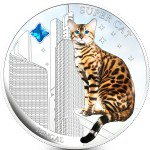 Fiji SUPER CAT - BENGAL HOMY $2 Silver Coin 2013 Gem inlay Proof 1 oz