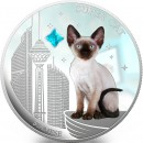 Fiji SUPER CAT - SIAMESE $2 Silver Coin 2013 Gem inlay Proof 1 oz