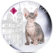 Fiji SUPER CAT - SPHYNX $2 Silver Coin 2013 Gem inlay Proof 1 oz
