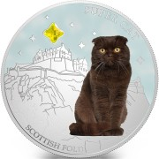 Fiji SUPER CAT - SCOTTISH FOLD $2 Silver Coin 2013 Gem inlay Proof 1 oz