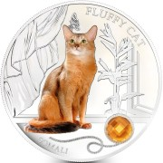 Fiji FLUFFY CAT - SOMALI $2 Silver Coin 2013 Gem inlay Proof 1 oz